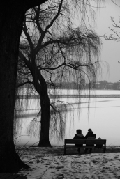 Hamburg Alster in winter - Two man on a bench