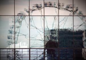 Hamburg Hafencity - Reflection of big wheel