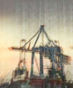 Hamburg Altona - Reflection of crane in window of fisherman's house