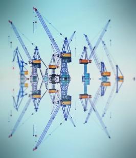 Hamburg city center - Reflection cranes