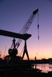 Hamburg Neuenfelde - Cranes in sunset 3