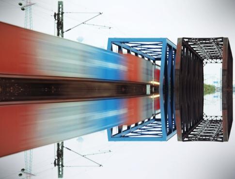 Hamburg Hafen - Mirror of moving train
