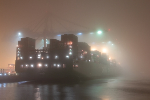 Hamburg Hafen - Containership in fog