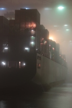 Hamburg Hafen - Containership in fog 2