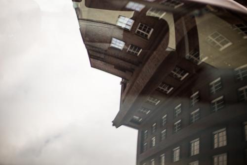 Hamburg city center - reflection in car window