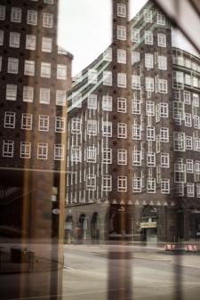 Hamburg city center - Reflection of Chilehaus 3