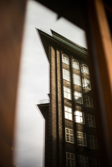 Hamburg city center -reflection of Chilehaus