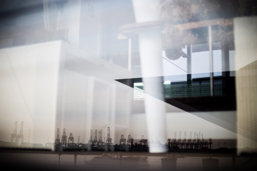 Hamburg city center - Reflection of Dockland building & harbour