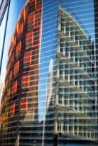 Hamburg city center - Reflection in round window