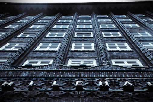 Hamburg City center - Chilehaus under the rain