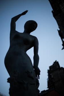 Hamburg - Statue at Sankt Nikolas