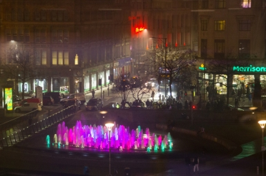 Manchester city center fountain