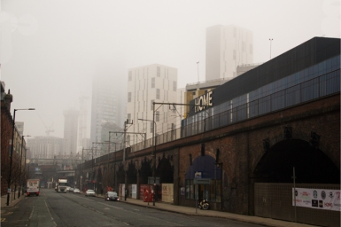 Manchester city in fog