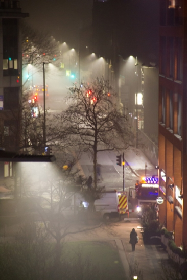 Manchester foggy city center